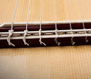 Класичне кріплення струн на підставці гітари